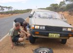 First flat tire, on  the way to the outback.