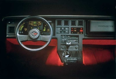 Chevrolet Corvette (1984-1989). Dashboard as in brochure.