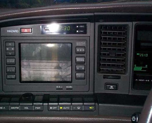 Toyota Crown (1987-1991). The CD-ROM based colour CRT navigation system.